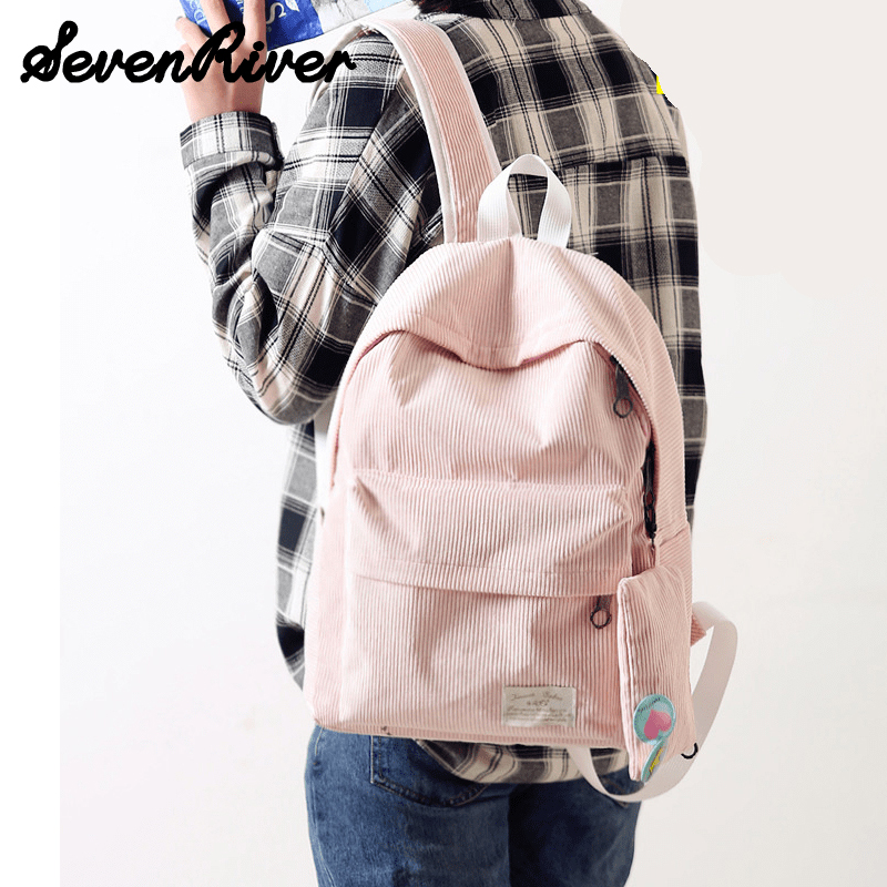 Women Pink Black Corduroy Backpack With Purse Simple Tote School Bags For Teenager Girls Students Shoulder Bag Travel Bag<br><br>Aliexpress