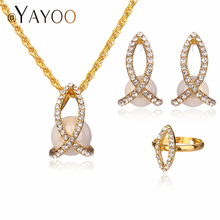 AYAYOO Fashion Women Jewelry Sets Necklaces Bridal Wedding Accessories Gold Color Trendy Party Simulated Pearl Jewellery