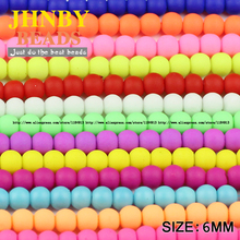 JHNBY Rubber Glass Beads Candy Color Neon Matte Round Ball High quality 100PCS 6mm Loose beads for jewelry making bracelet DIY()