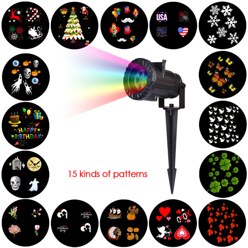 LAIDEYI 15 Types LED Stage Lighting Effect Holiday Waterproof Projector Lamp Christmas Halloween Snowflake Star Laser Light <br>