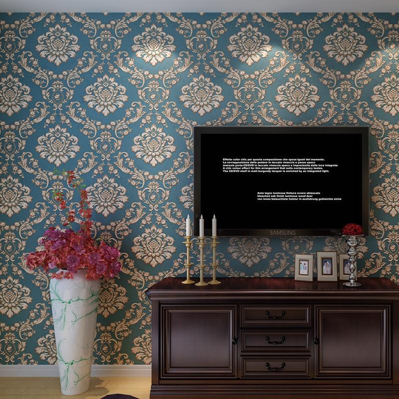 European non-woven wallpaper 3 d Damascus study living room bedroom wallpaper retro TV setting wall paper<br>