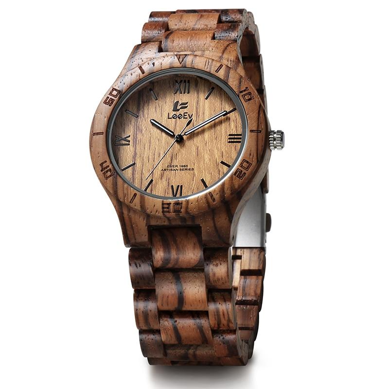 LeeEv EV1985 Mens Handmade Zebra Sandal Wood Watch Analog Quartz Light Weight Vintage Wooden Wrist Watch<br>