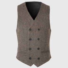 Slim Men Double Breasted Vest Work Sleeveless Waistcoat Male City Trends Coat Cotton Vintage Reporter Designer Geometric Stylish