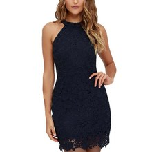 Buy 2018 Women Elegant Wedding Party Sexy Night Club Halter Neck Sleeveless Sheath Bodycon Lace Dress Short
