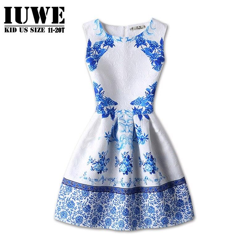Girls Dress Kids Dresses for Girls Autumn of 12-16 Years Blue Printed Sleeveless Dress Teen Robe Princess Dress girls clothes13Y<br><br>Aliexpress