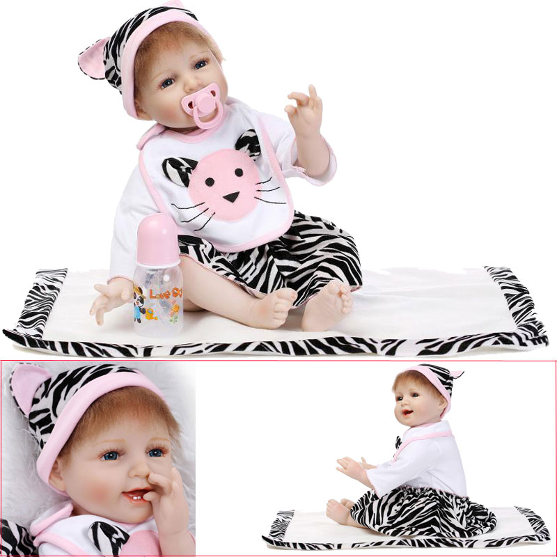22inch Cat Cloth Silicone Reborn Doll Toys Lifelike Doll 55cm BeBe Reborn Toys Newborn Baby Toys Brinquedos For Girl Chirstmas<br><br>Aliexpress
