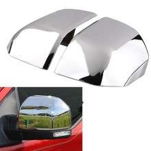 2pcs car OEM Chrome Plated Top Half Side Mirrors Covers Rear View Overlay Trim Caps  For Ford F150 car mirror car-styling