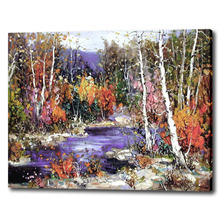 Forest river oil painting modern Chinese oil painting for hotel wall decoration canvas wall art for friends gift(China)