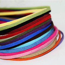 3MM mixed color 4M black white brown Flat Faux Suede Korean Velvet Cord Jewelry string Rope Thread Rope Findings free ship