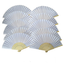 Free Shipping 10 pcs/lot 21cm White Color Fabric Hand Fan, Silk Hand Fan Wedding Party Promotion Favor(China)