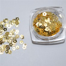 500psc Mixed Alloy Glitter 3D Flowers Nails Art Jewelry Decorations Charms Manicure Charms 3D Nail Art Decorations YZJ034(China)