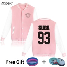 MULYEN BTS Kpop Bangtan Boys Album Hoodies Women Plus Size Sweatshirt Cotton Fleece Pink Jacket Baseball Uniform