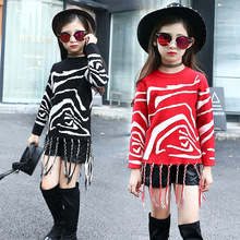 Girls Zebra Sweater with Tassels 2017 Kids Striped Pullover Sweater Warm Winter Clothes Children Girl Knitwear RED / BLACK