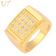 U7 Men Jewelry Big Rings With Luxury Cubic Zirconia Gold Color Wedding Bands Ring For Men Party Gift R323(China)