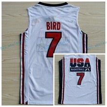 Retro College Stitched #7 larry bird #13 Chris Mullin #15 Magic Johnson 1992 dream team usa Basketball Jersey(China)