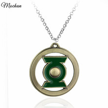 MQCHUN DC Comics The Green Lantern Pendant Necklace With Link Chain Hot Movie Jewelry JUSTICE LEAGUE(China)
