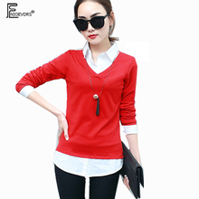 Autumn Winter Tops New Hot Korean Style Women Fashion Long Sleeve Casual Shirts Patchwork Faux Two Piece Red Green Blouse 8803