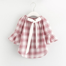 2017 Spring Fashion New retro Baby Girls Clothing wide plaid middle flare Sleeve Blouse Ruffle shirt kids Tops 2-7y