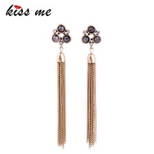 KISS ME Long Earrings Personalized Antique Gold Gold Alloy Chain Tassel Earrings Women Jewelry Accessories(China)