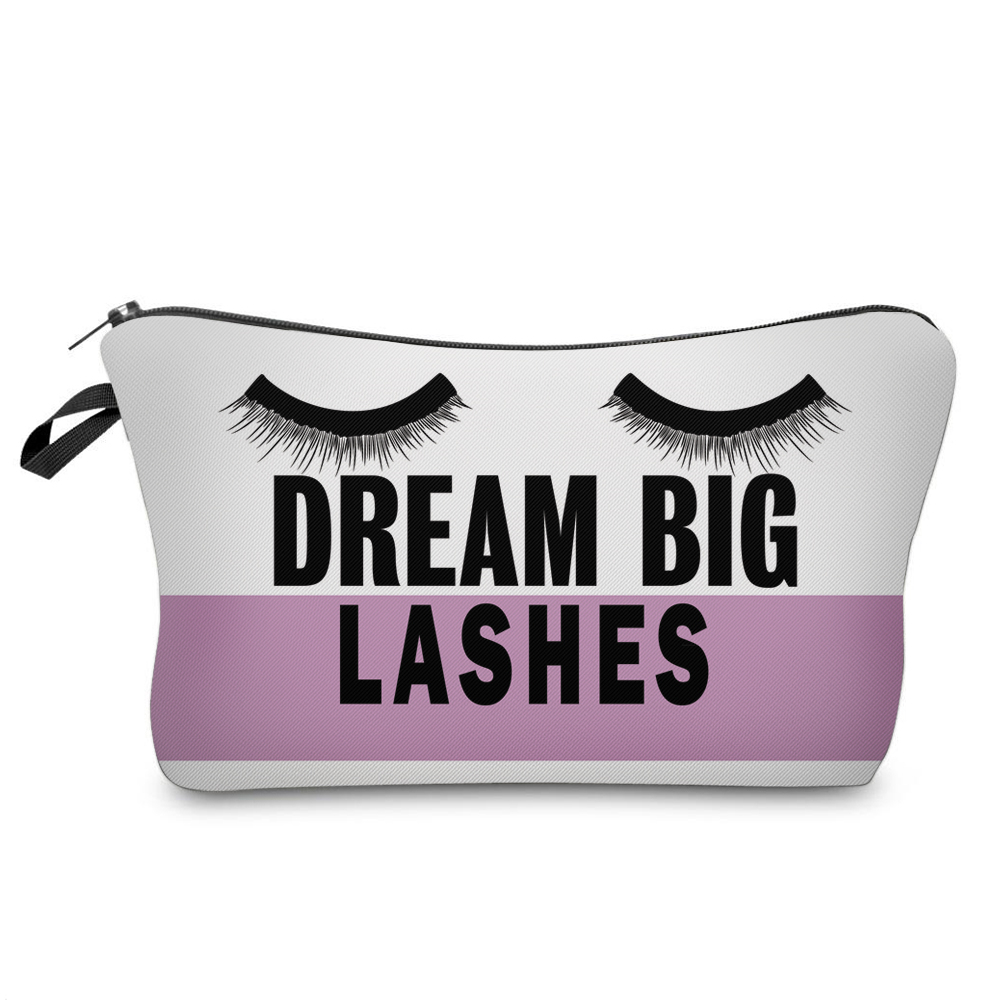 """I Like My Eyelashes"" Printed Makeup Bag Organizer 9"
