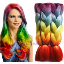 Halloween rainbow color  jumbo ombre synthetic crochet braiding hair extensions for box braids100g purple red  yellow