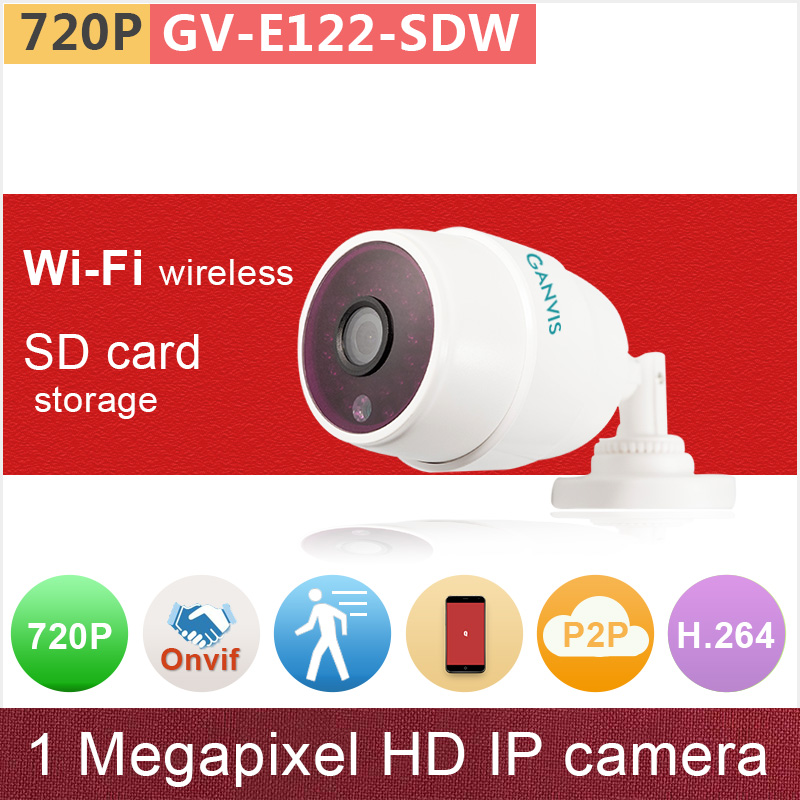 WiFi wireless IP camera 720P ONVIF max 32GB SD card mini IR bullet digital network cctv camera surveillance GANVIS GV-E122-SDW<br>