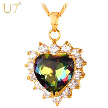 U7 Crystal Necklace Women Jewelry Valentines Gift Gold Color Romantic Love Heart Necklace Pendant Wholesale P644