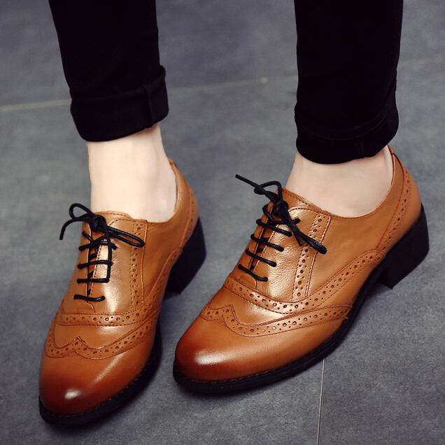 New 2015 Zapatos Mujer Shoes Woman Genuine Leather Oxford Shoes For Women Brogues Leisure Vintage Lace Up Flats Brand Shoes<br><br>Aliexpress