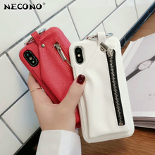 NECONO Phone Case for iPhone 8 X Leather Wallet Zipper Handbag Funda for iPhone 6 6S 7 8Plus Bag Circle Ring Hard PC Back Cover(China)
