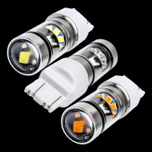 New Super Bright T20 7443 W21/5W Double Reflector Cup LED Car Brake Light Motor DRL Driving Lamp Turn Signal white red yellow