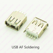 10PCS USB 2.0 Jack Female Connector USB 180 Degree Soldering Type Charging Socket