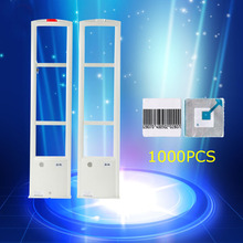 1set 8.2Mhz eas security system for retail store to anti theft 2pcs antenna and 1000pcs eas security label,free shipping