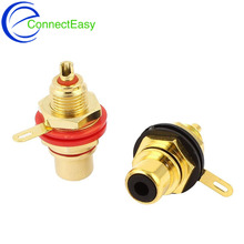 10pcs New Gold Plated Female RCA Phono Jack Panel Mount Amplifier Chassis Socket plug adapter Connector