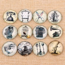 Onwear Mixed round dome vintage chair telephone scissor pistol car photo glass cabochon 10mm 12mm 14mm 18mm 20mm 25mm