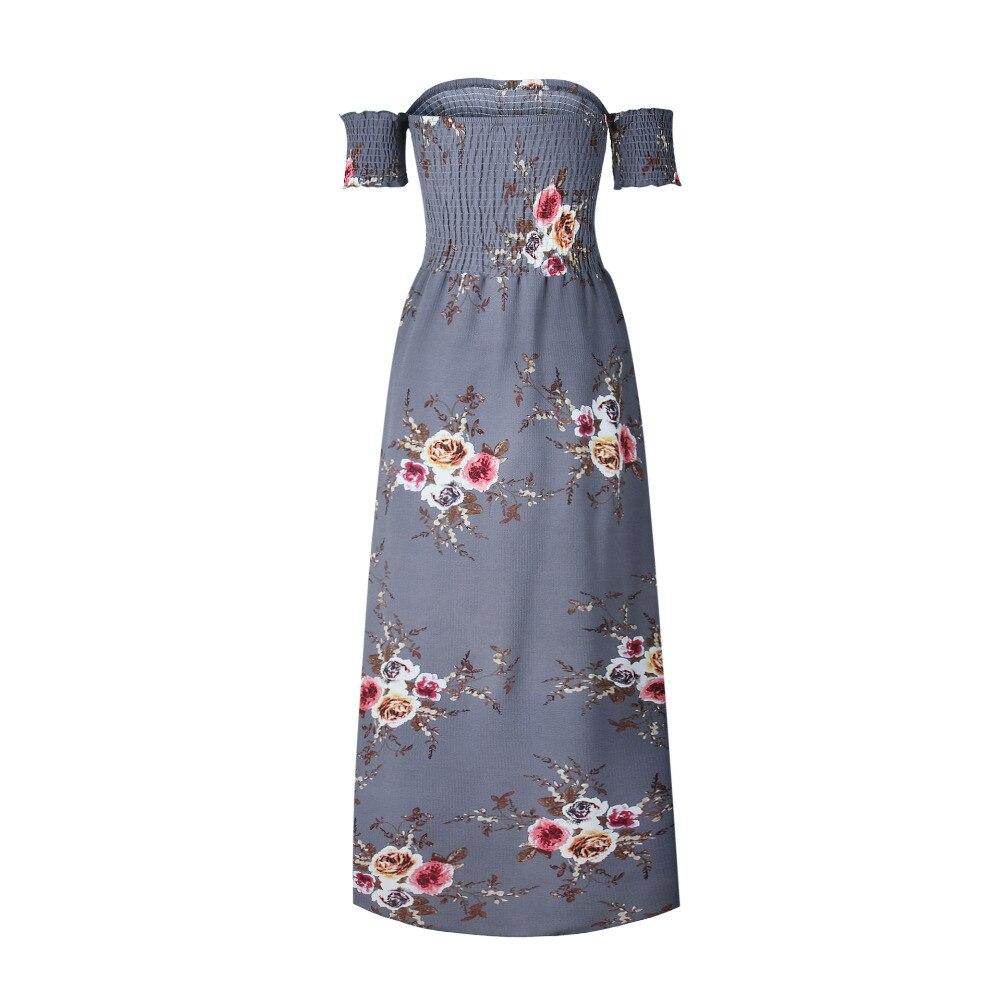 LOSSKY Off Shoulder Vintage Print Maxi Summer Dress 2