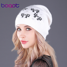 [boapt] Butterfly Printing Double-deck Wool Knitted Caps Female Skullies Beanies Thick Warm Casual Winter Hats for Women's Hat(China)