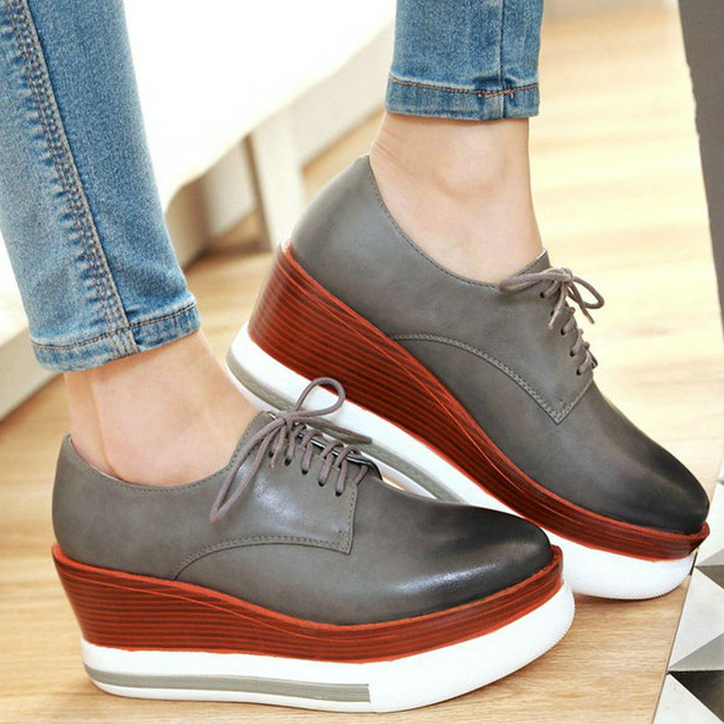 AIWEIYi 2017 Womens New Retro England Style Round Toe Thick Heel Wedges Lace up Oxfords Shoes Casual Shoes Black Red Grey<br><br>Aliexpress