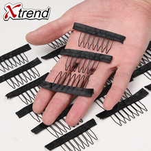 Black Wig Combs With Polyster Cloth 7 Teeth Wig Accessories Hair Wig Combs 20Pcs Wholesale Lace Wig Comb Clips