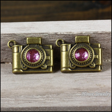 Wholesale 23 pcs Vintage Charms Light purple Camera Pendant Antique bronze Fit Bracelets Necklace DIY Metal Jewelry Making