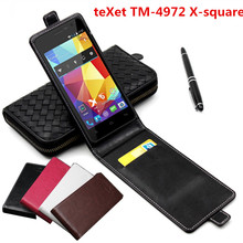 Classic Advanced Top Leather Flip Leather case For teXet TM-4972 X-square / TM 4972 X square Phone Cover Case With Card Slot(China)