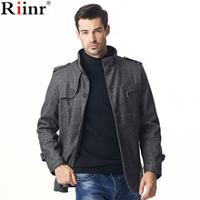 Riinr 2017 Fashion New Arrival Mens Overcoat High Quality Autumn Outwear Solid Color Long Sleeve Single Breasted Men Wool Blends(China)