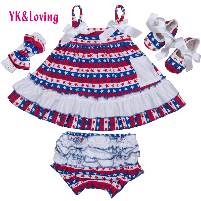 4th of July Girl Outfit  Briefs+Sling Girls 4pcs Cotton Baby Clothing Set Newborn Ruffles Bloomers Girl Short HOT Quality<br><br>Aliexpress