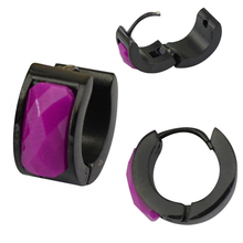 ear clip with purple zircon  black plated body piercing jewelry  fashion jewelry manufacturers imitation jeweller.