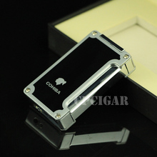 COHIBA Portable Windproof 3 Torch Flame Cigar Jet Lighter with Double Steel Cigar Punch Refillable Cigarette Fire Lighter