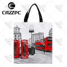 London City Retro Red bus and Telephone Boxes Print Custom Oxford Nylon Fabric Shopping Storage Grocery bag Pack of 2