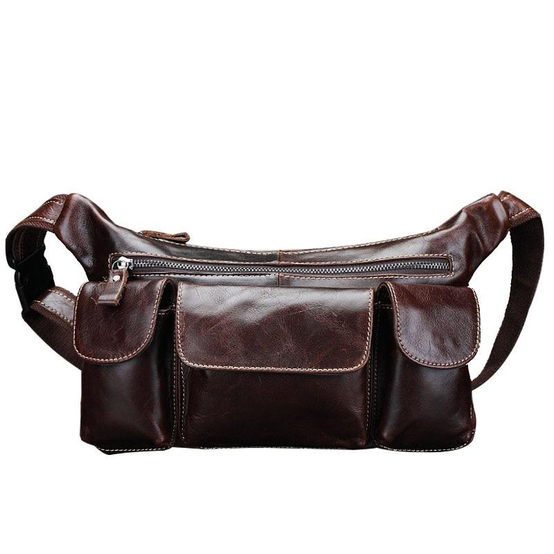 100% Genuine Leather Mens Waist Bag Waterproof Crossbody Bags With Phone Pocket Vintage Multifunction Shoulder Bag Blosa CH073<br><br>Aliexpress