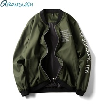Grandwish Men's Jacket Letter Print Slim Fit Plus Size 4XL Mens Jacket Windbreaker Fall 2017 Bomber Jacket Men Army Green,DA338