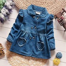 BibiCola Girls Denim Jackets Lovely Heart Protect Dot Baby Outerwear Jackets For Girls Long Sleeve Girls Jeans Jackets Clothes(China)
