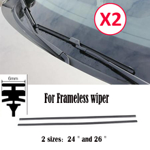 2Pc 6mm 24'' 26'' Car Rubber Bracketless Wiper Blade Refill Frameless Wiper Refills Universal Windscreen Windshield Front Window