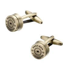 Bronze Bullet Cufflinks for Mens French Shirt Cuff bottons Wedding High Quality Round Cufflinks Fashion HI Brand Jewelry(China)